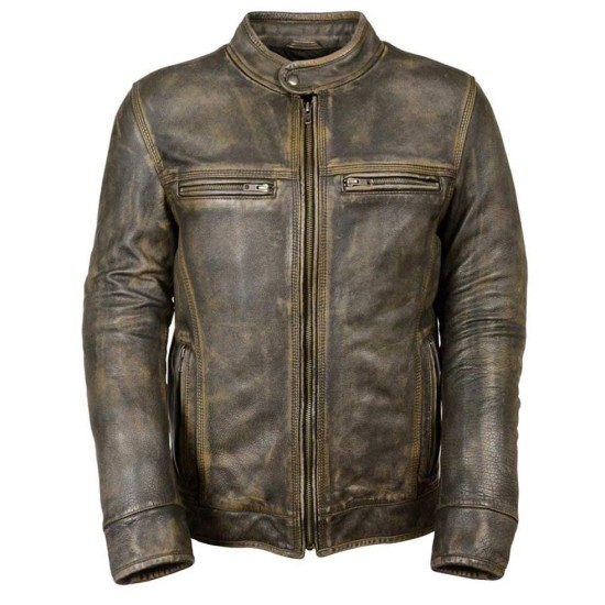 Men's Cafe Racer Brown Waxed Leather Jacket