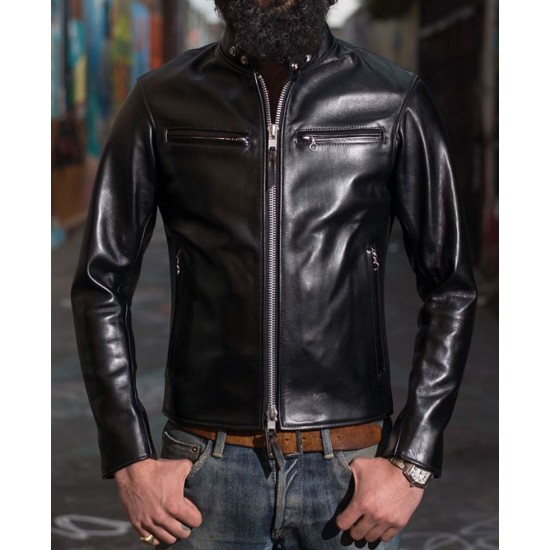 Men's Motorcycle Iron Heart Black Leather Jacket