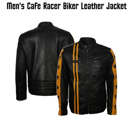 Men's Star Design Striped Cafe Racer Leather Jacket