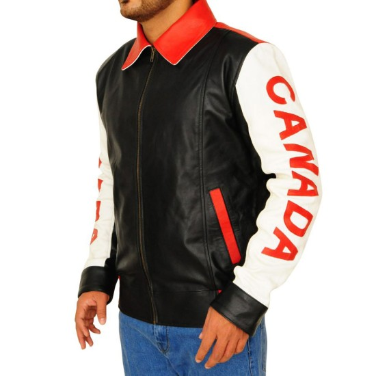 Men's Canadian Flag Leather Jacket