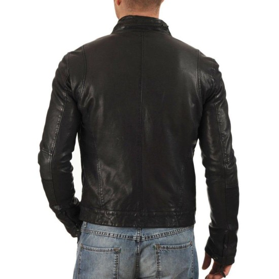 Men's Fashion Casual Black Leather Jacket
