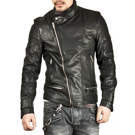 Men's Casual Stand Collar Asymmetrical Zipper Black Leather Jacket
