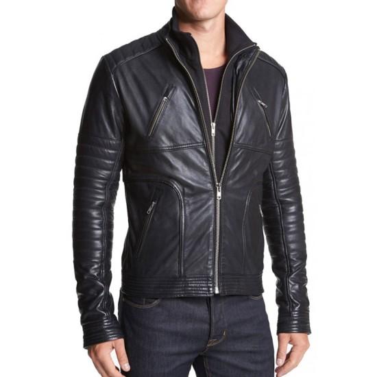 Mens Casual Wear Padded Sleeves Biker Style Leather Jacket