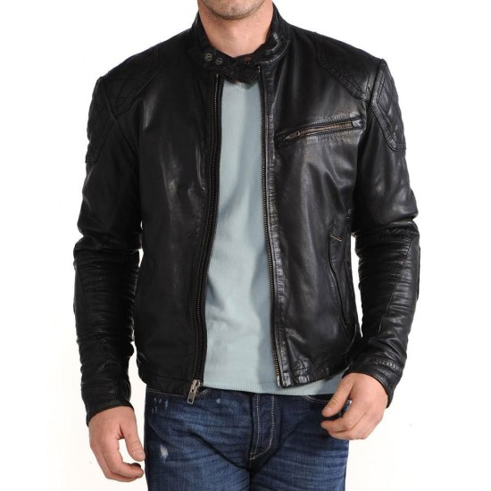 Men's Casual Black Leather Snap Button Jacket