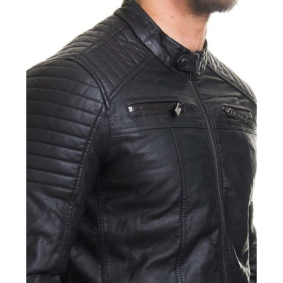 Men's Casual Slim Fit Padded Black Leather Jacket