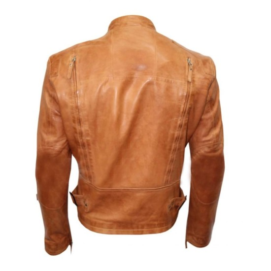 Men's Designer Casual Brown Leather Jacket