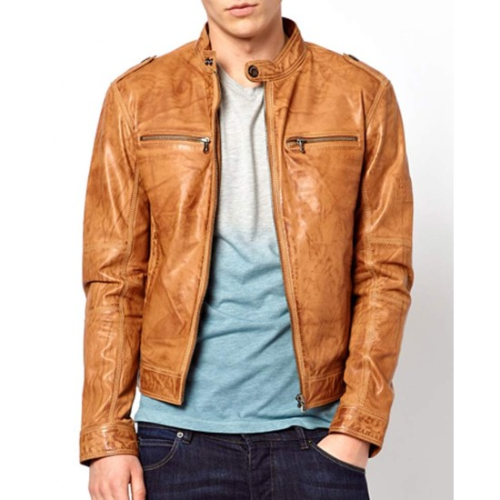 Men's Casual Distressed Brown Leather Moto Jacket