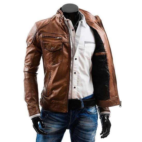 Men's Casual Wear Slim Fit Camel Brown Leather Jacket