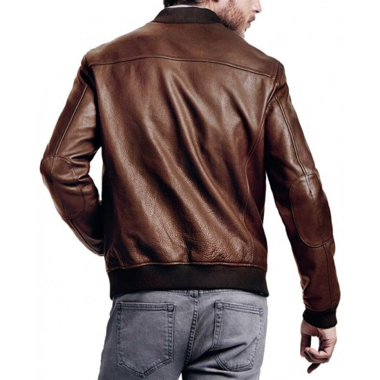 Men's Bomber Chocolate Brown Leather Jacket