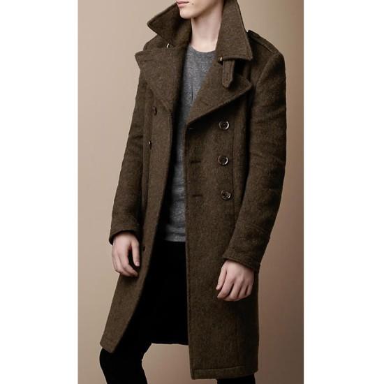 Double Ted Chocolate Brown Coat, Mens Chocolate Brown Pea Coat