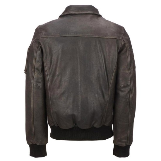 Men's Classic Bomber Brown Waxed Leather Jacket