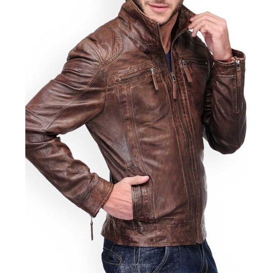 Biker Style Men's Distressed Leather Brown Jacket