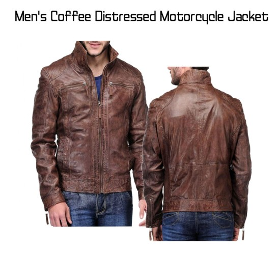 Biker Style Men's Distressed Leather Brown Jacket