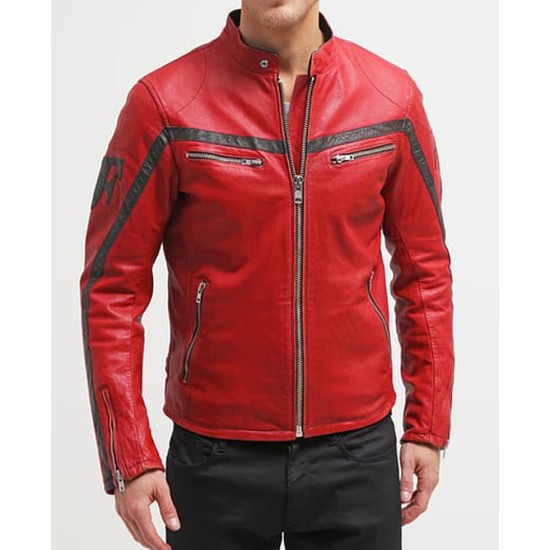Men's Cafe Racer Red Leather Motorcycle Jacket
