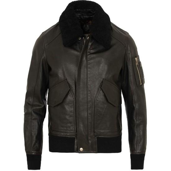 Men's Designer Bomber Black Leather Fur Collar Jacket