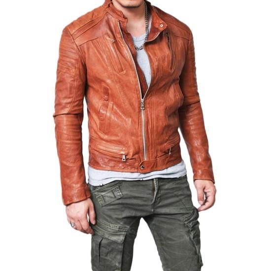 Men's Designer Lambskin Leather Mandarin Jacket