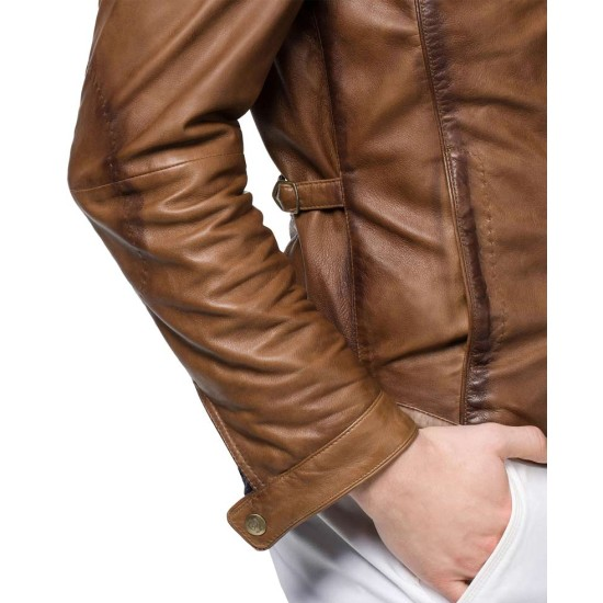 Men's Motorcycle Designer Tan Brown Leather Jacket