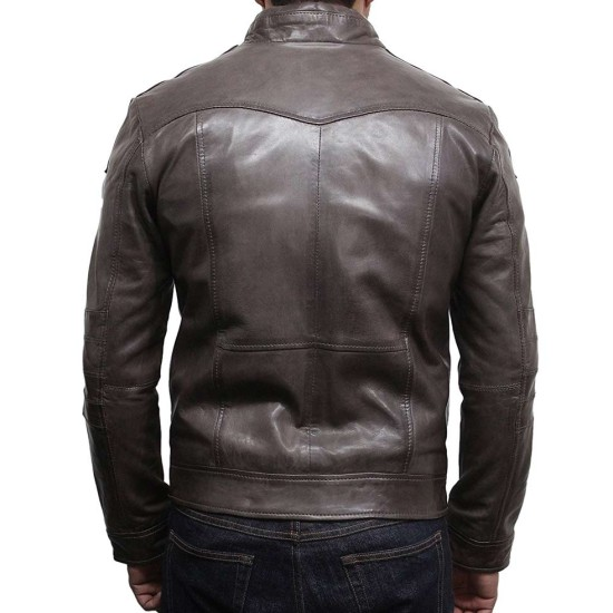 Men's Vintage Designer Brown Washed Leather Jacket