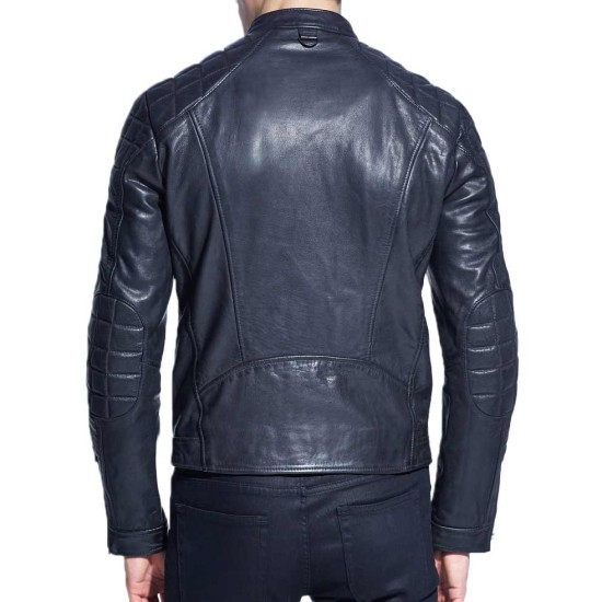 Men's Zipper Pocket Style Motorcycle Blue Leather Jacket