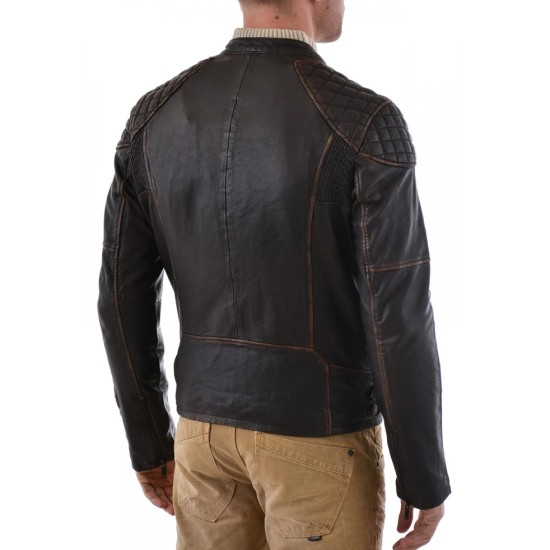 Men's Biker Style Diamond Quilted Shoulder Waxed Brown Jacket
