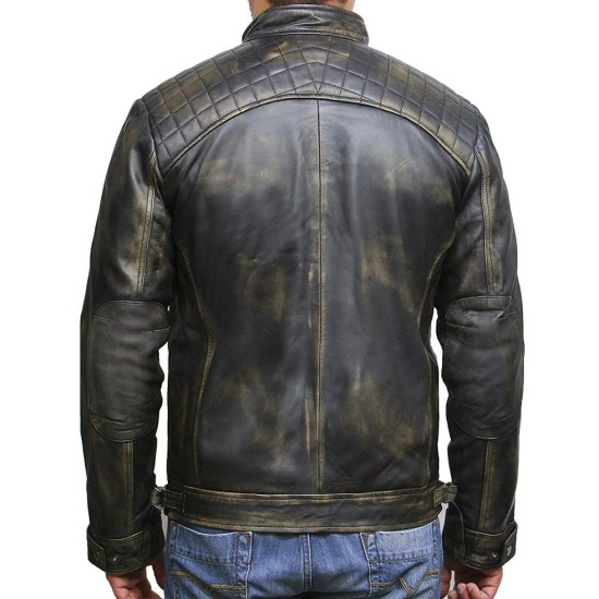 Men's Casual Wear Diamond Quilted Shoulders Waxed Jacket