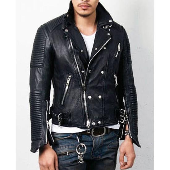 Men's Padded Design Black Leather Moto Jacket