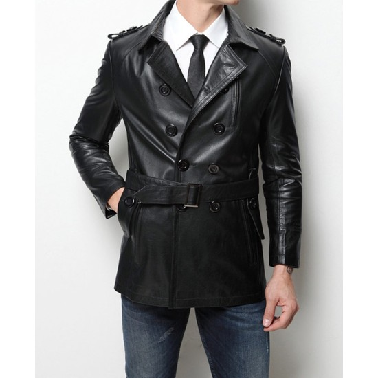 Men's Casual Mid Length Belted Leather Coat