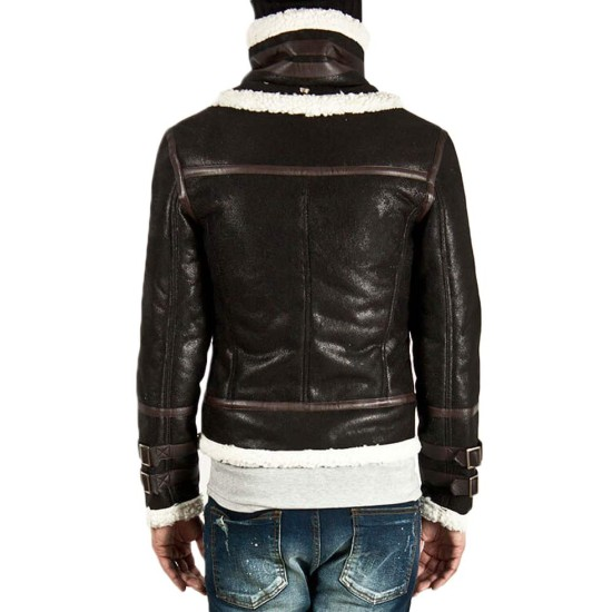 Men's Double Face Real Leather Faux Shearling Jacket