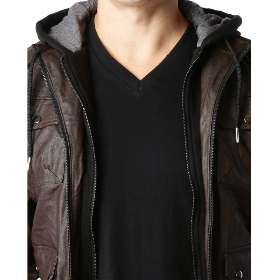 Men's Biker Faux Leather Zip Up Hoodie Jacket