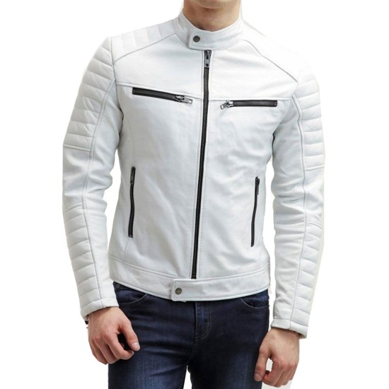 Men's FJM007 Padded Style Motorcycle White Leather Jacket
