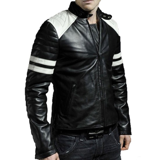 Men's FJM009 White Striped Black Leather Motorcycle Jacket