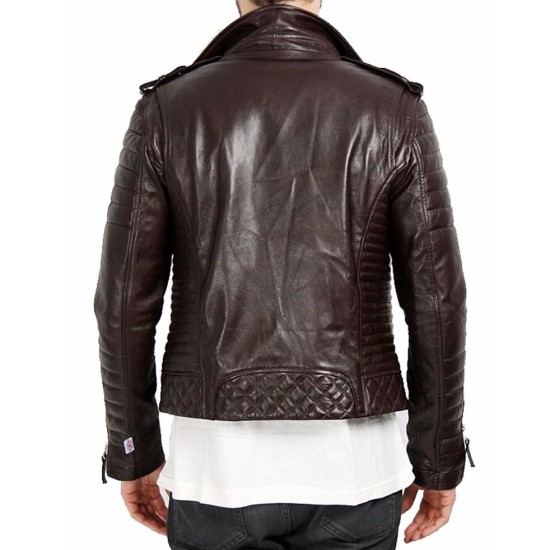 Men's FJM021 Motorcycle Asymmetrical Padded Brown Leather Jacket