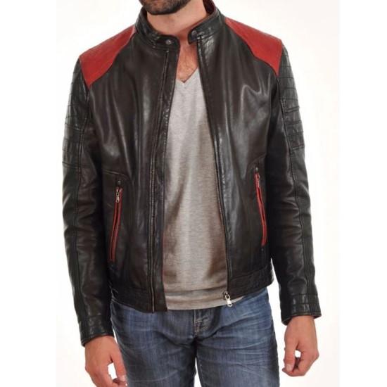 Men's FJM023 Red Quilted Shoulder Black Leather Motorcycle Jacket