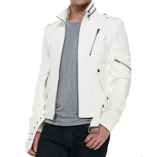 Men's FJM059 Belted White Leather Motorcycle Jacket