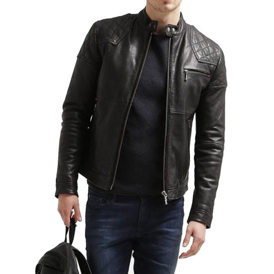 Men's FJM105 Quilted Shoulder Black Leather Motorcycle Jacket