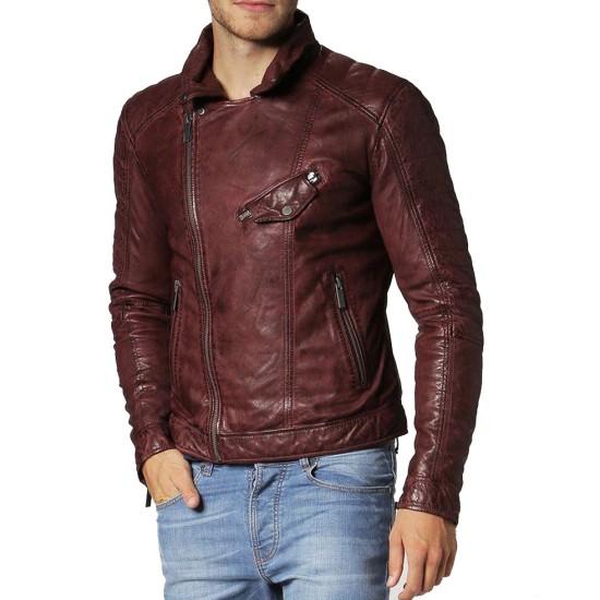 Men's FJM108 Biker Designer Asymmetrical Brown Leather Jacket