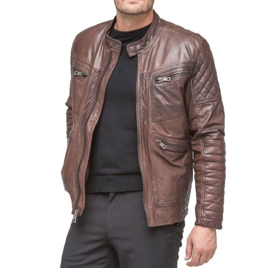 Men's FJM110 Moto Quilted Zipper Pockets Waxed Brown Leather Jacket