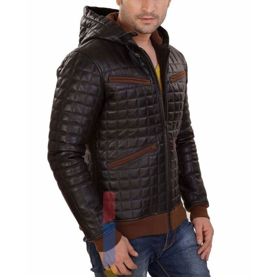 Men's FJM128 Diamond Quilted Designer Brown Leather Hoodie