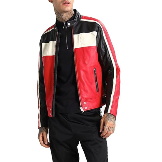 Men's FJM251 Motorcycle Striped Black Red and White Leather Jacket