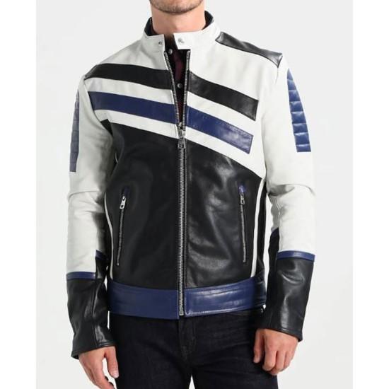 Men's FJM291 White Black and Blue Designer Leather Jacket