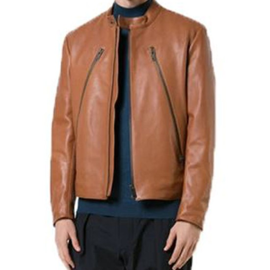 Men's FJM376 Long Zipper Brown Leather Jacket