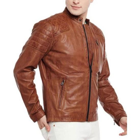 Men's FJM416 Biker Quilted Brown Leather Jacket