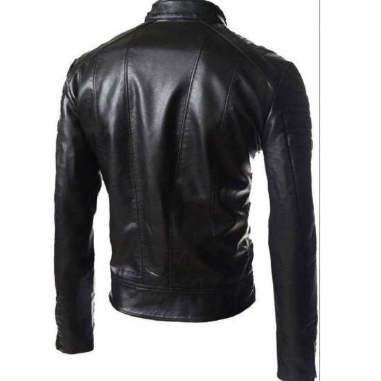 Men's FJM457 Designer Asymmetrical Motorcycle Black Leather Jacket
