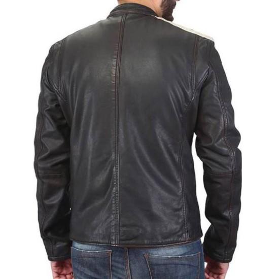 Men's FJM473 Striped Dark Brown Leather Biker Jacket