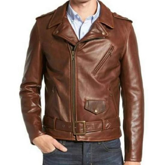 Men's FJM478 Biker Asymmetrical Belted Brown Leather Jacket
