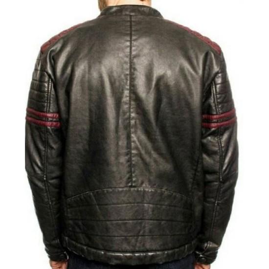 Men's FJM486 Burgundy Striped Motorcycle Leather Jacket