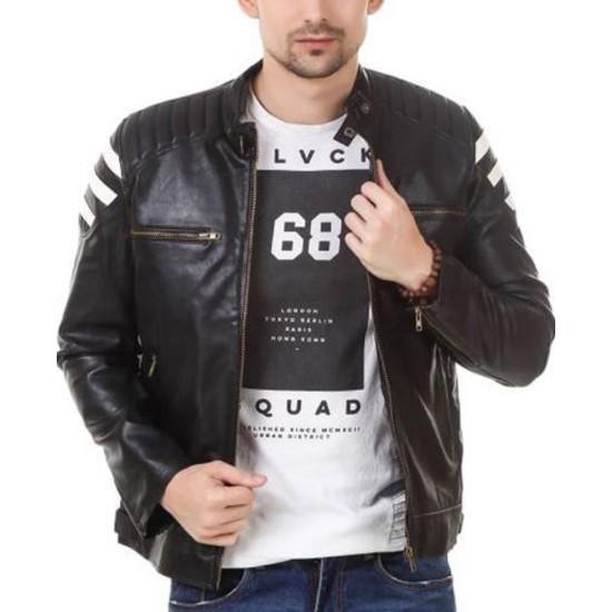 Men's FJM541 Biker Zipper Pockets White Striped Black Leather Jacket