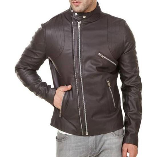 Men's FJM547 Dual Zipper Biker Brown Leather Jacket