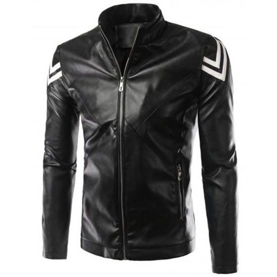 Men's FJM575 Slim Fit Casual Black Leather Jacket