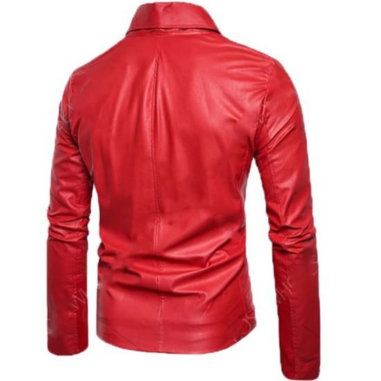 Men's FJM592 Asymmetrical Motorcycle Slim Fit Red Leather Jacket